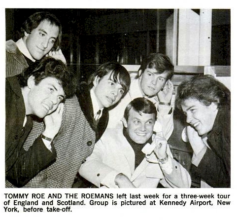 Tommy Roe and The Roemans at the Kennedy Airport before they left for their three week tour in England and Scotland.